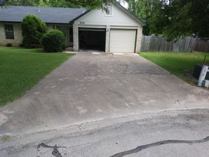 Before During & After Driveway & Garage Pressure Washed in Hutto, TX (1)